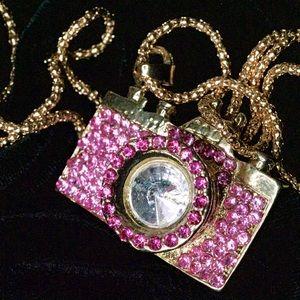 Pink Glitzy Camera Pendant necklace